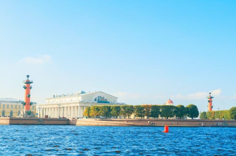 St Petersburg, Russia -October 3, 2016. Panorama of Vasilievsky island spit of Saint Petersburg, Russia - rostral columns, Stock exchange building and Custom house in Saint Petersburg, Russia